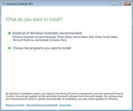 Windows Live Essentials 2012 install select