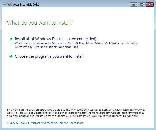 Windows Live Essentials 2012 install select
