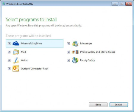 Windows Live Essentials 2012 install some apps