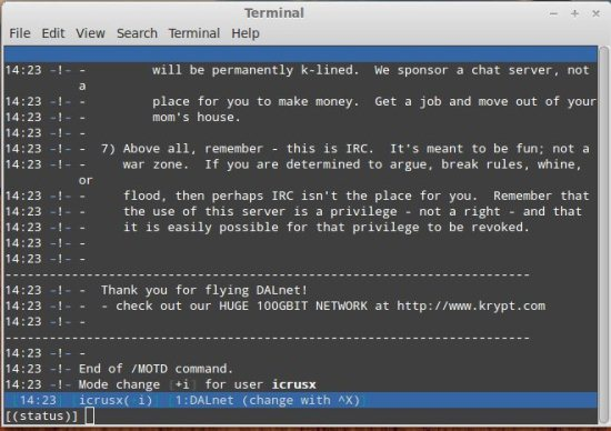 command line interface of irc