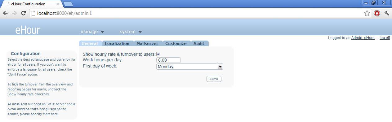 eHour default window