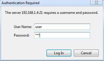 fileZilla login dialog