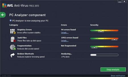 AVG Antivirus PC Analyzer error checking