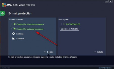 AVG Antivirus activating outgoing email protection