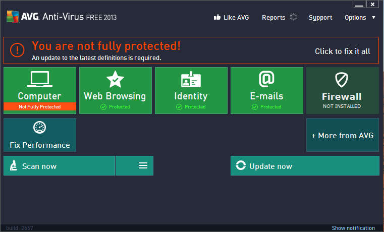AVG Antivirus default window