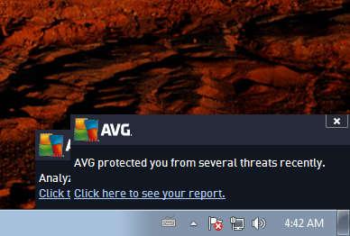 AVG Antivirus protected from threats