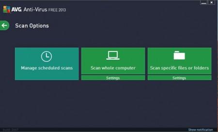 AVG Antivirus scan activation