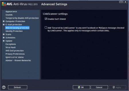 AVG Antivirus web browsing