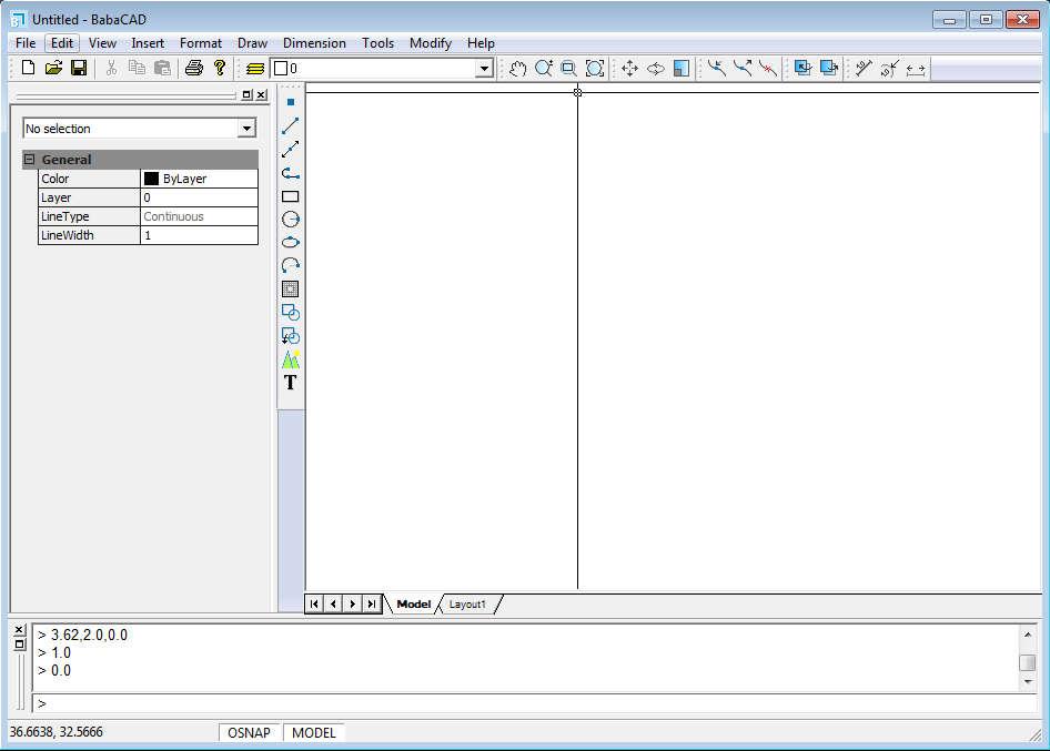 BabaCAD default window