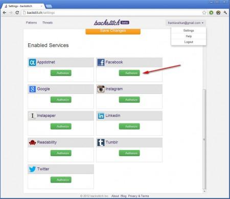 Backstit.ch authorize social networks