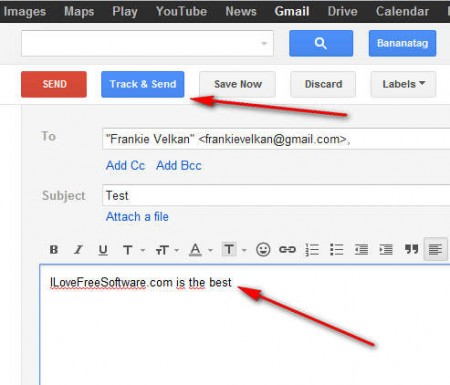 BananaTag email track and send button