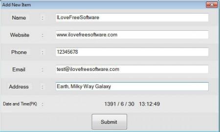 BizBook add new item