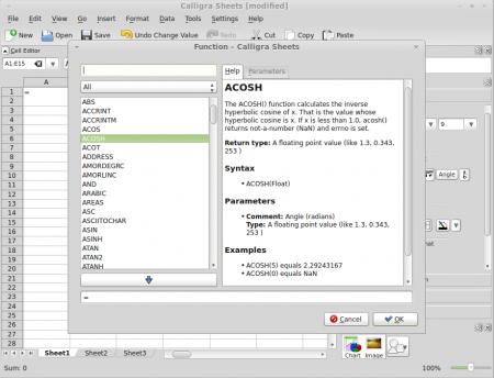 Calligra Sheets functions window