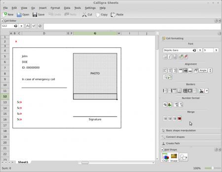 Calligra Sheets template open