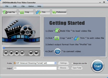 DVDVideoMedia Free Video Converter default window