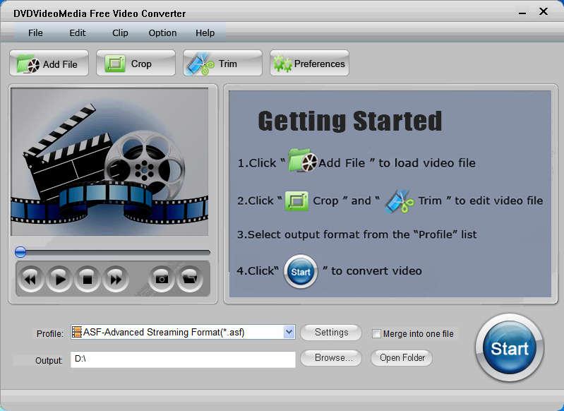 DVDVideoMedia Free Video Converter default window