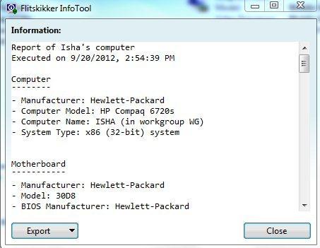 FlitskikkerInfTool export as text