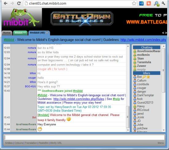 Mibbit: Free Online IRC Client
