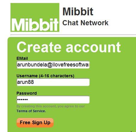 Mibbit sign up