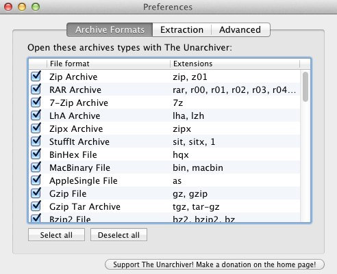 files supported by the unarchiver
