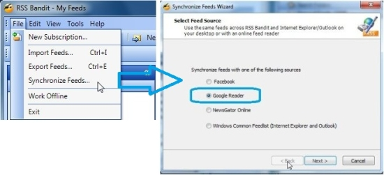 RSS bandit how to sync