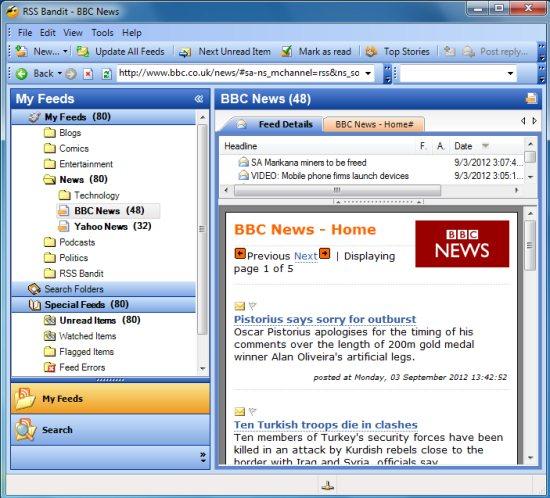 RSS bandit interface screenshot rss reader