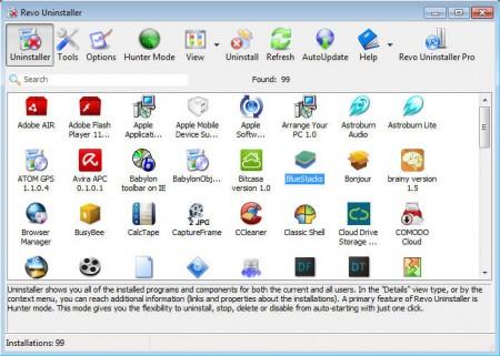 Revo Uninstaller default window