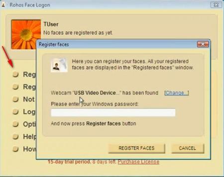 Rohos Face Logon registering faces