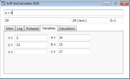 Sci9 Calculator calculating vriables
