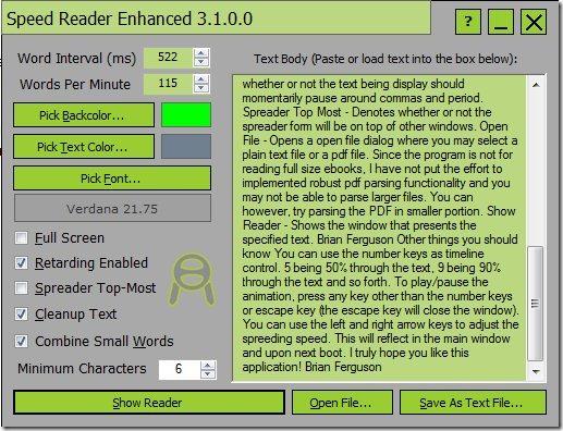 Speed Reader Enhanced speed reading
