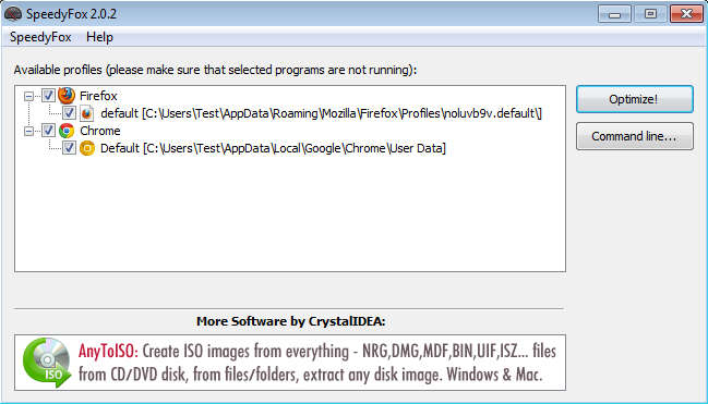 SpeedyFox default window