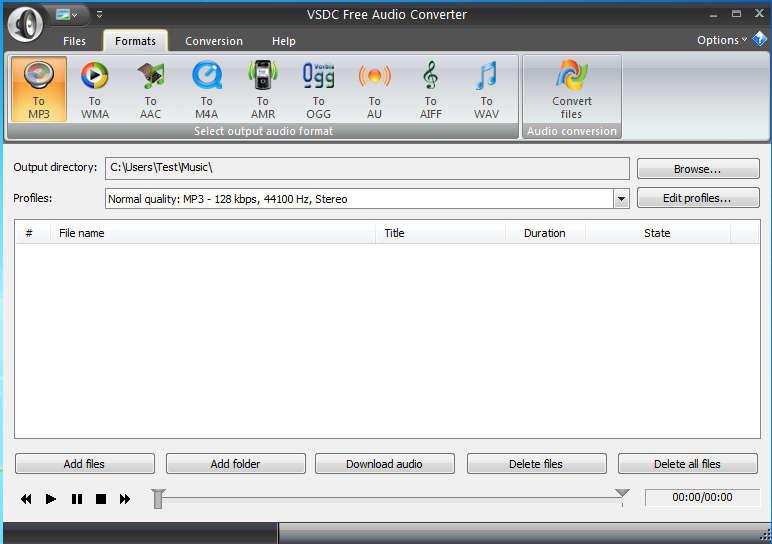VSDC Free Audio Converter default window