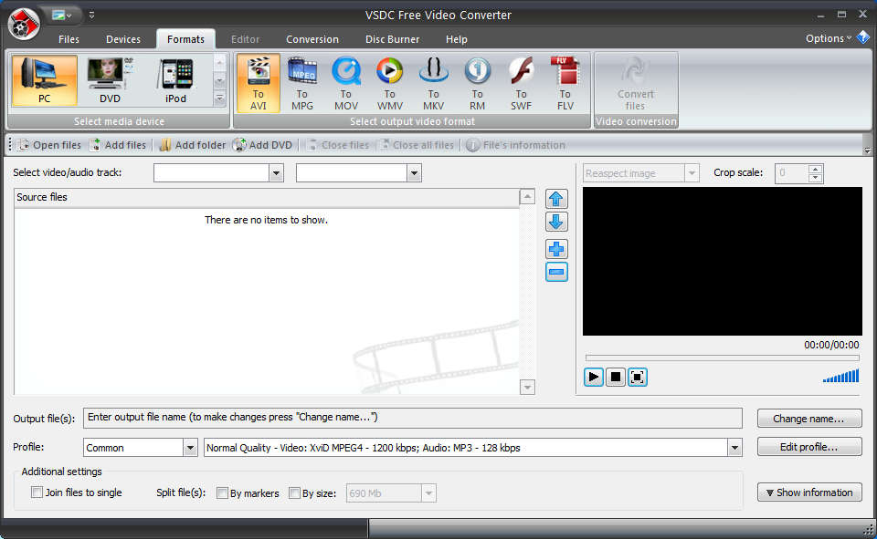 VSDC Free Video Converter default window