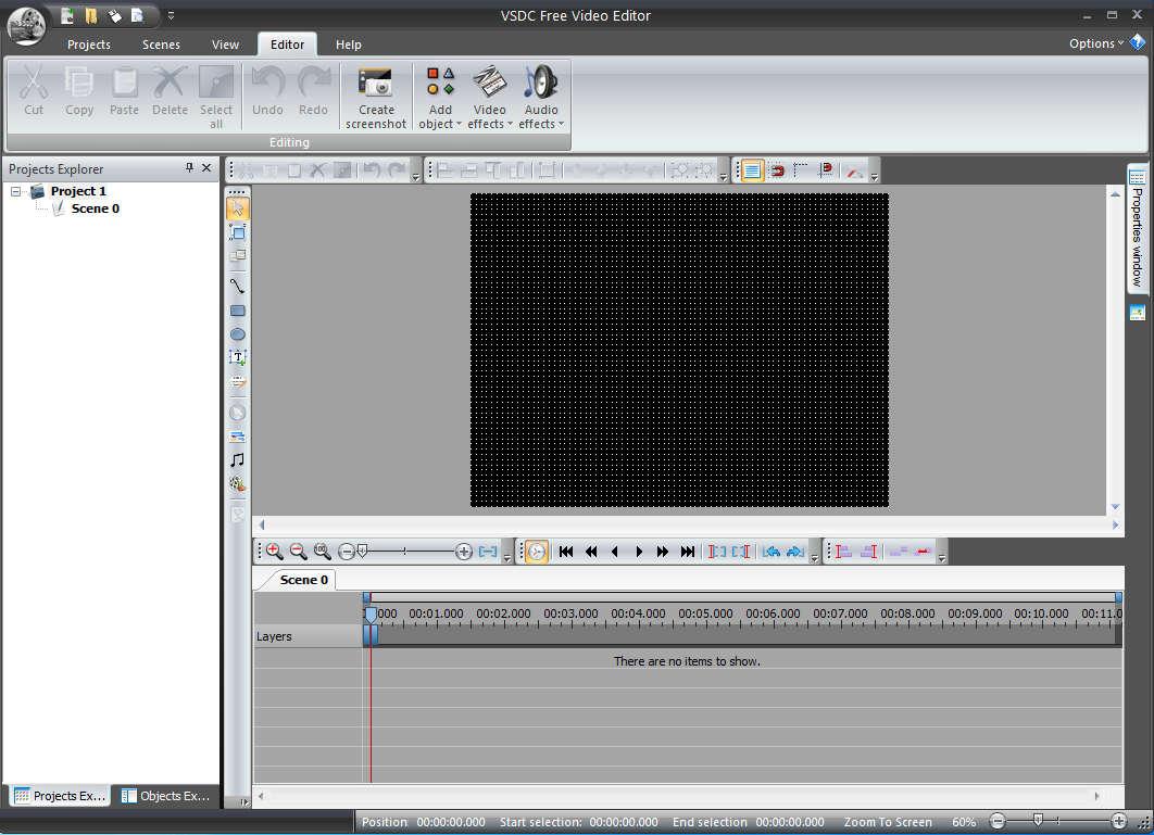 VSDC Free Video Editor default window