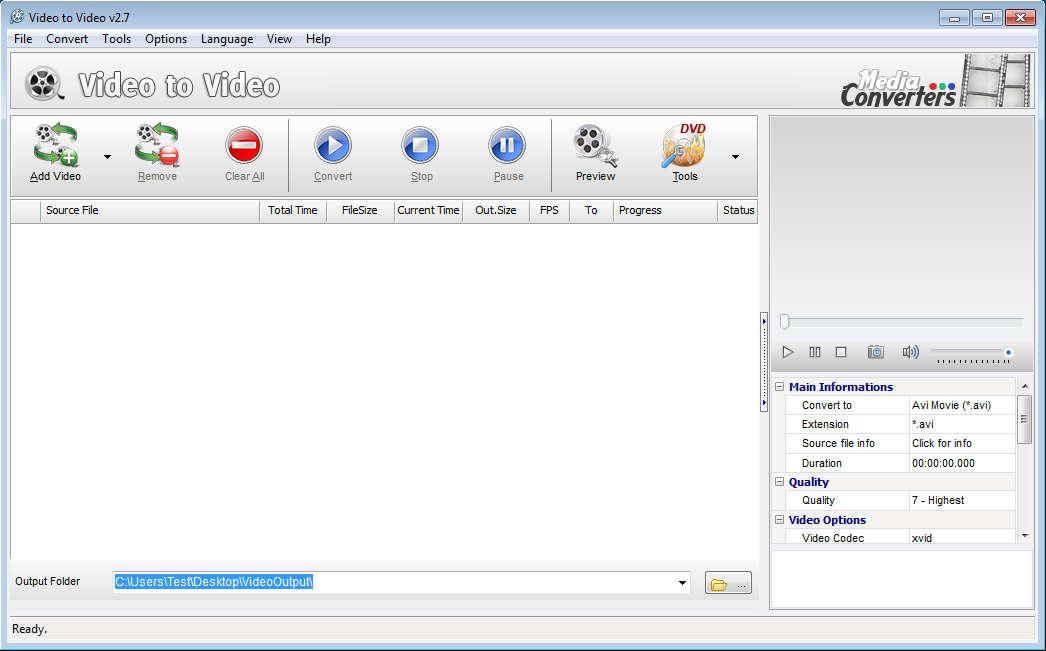 Video to Video default window
