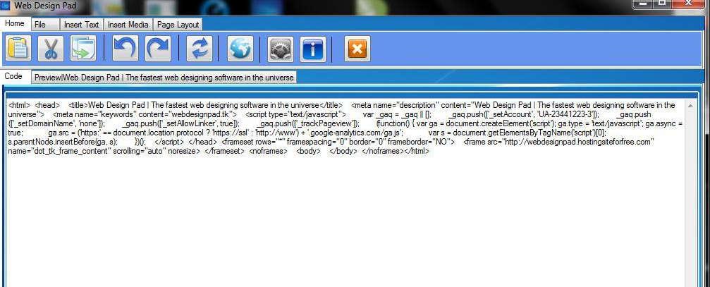 Web Design Pad default window