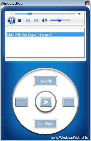 WindowsPod playing a song