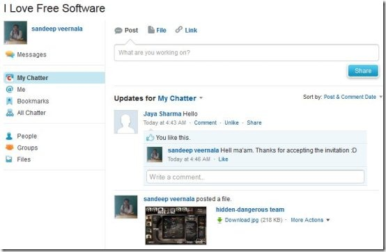 chatter homepage