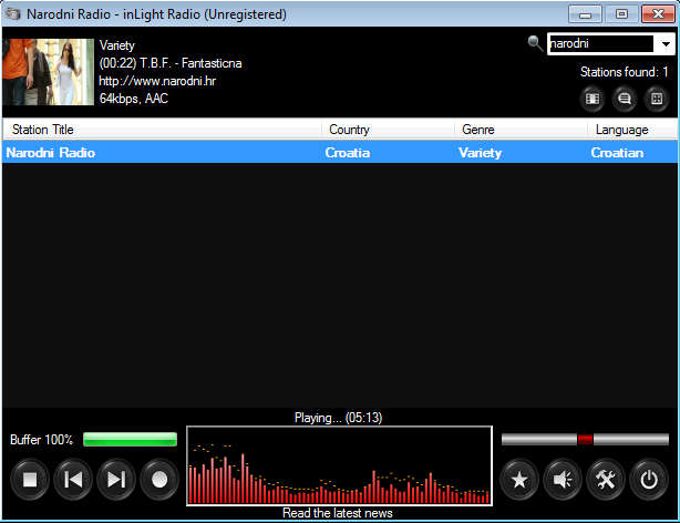 inLightRadio default window