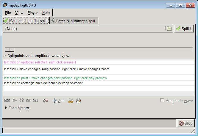 mp3split default view