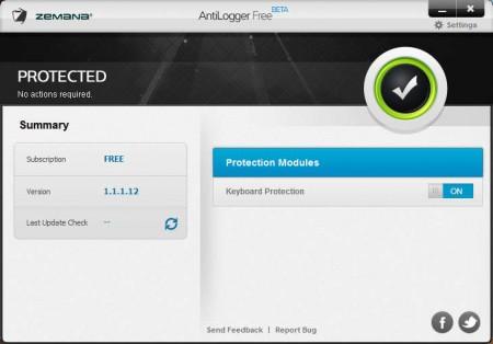 AntiLogger Free Anti-Keylogger default window