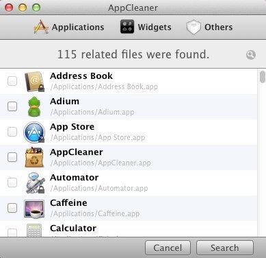 AppCleaner mac interface screen shot