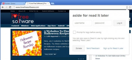 Aside read it later extension default window