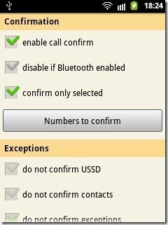 Call Confirmation settings