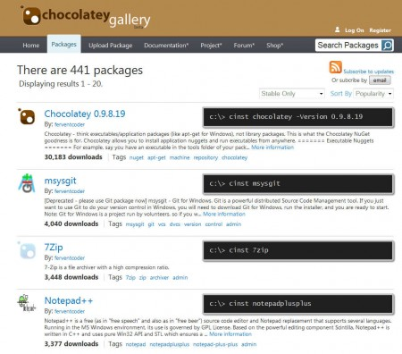 Chocolatey NuGet selection of application