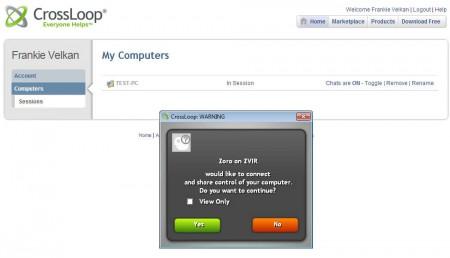 CrossLoop Remote Access allowing access
