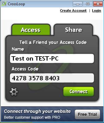 CrossLoop free screen sharing default window