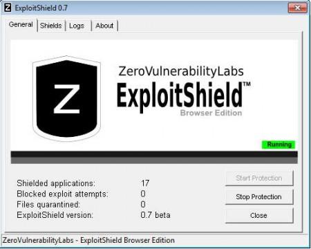 ExploitShield default window