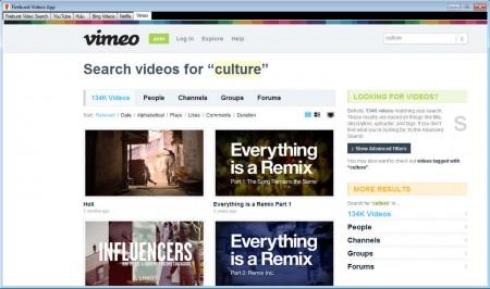 Fireburst Videos App searching videos