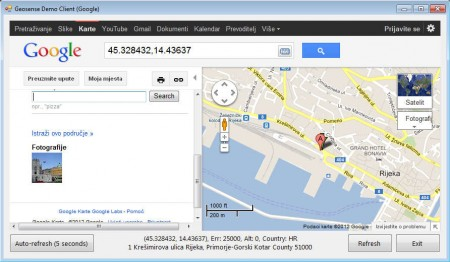 Geosense google maps location